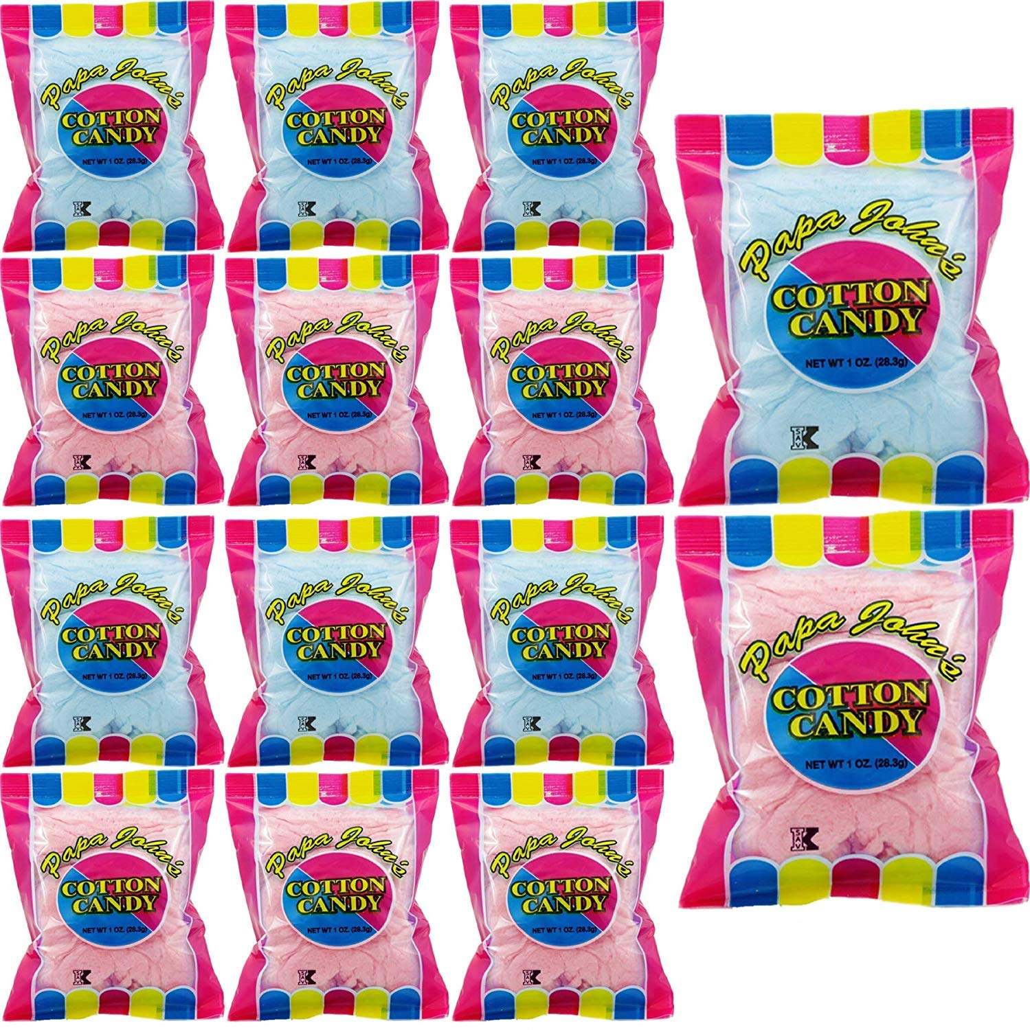 Papa John's Cotton Candy Blue and Pink Party Flavors Supplies Birthday Treats for Kids, Kosher, 1oz Bag (12-Pack) by Papa John's (Image #3)