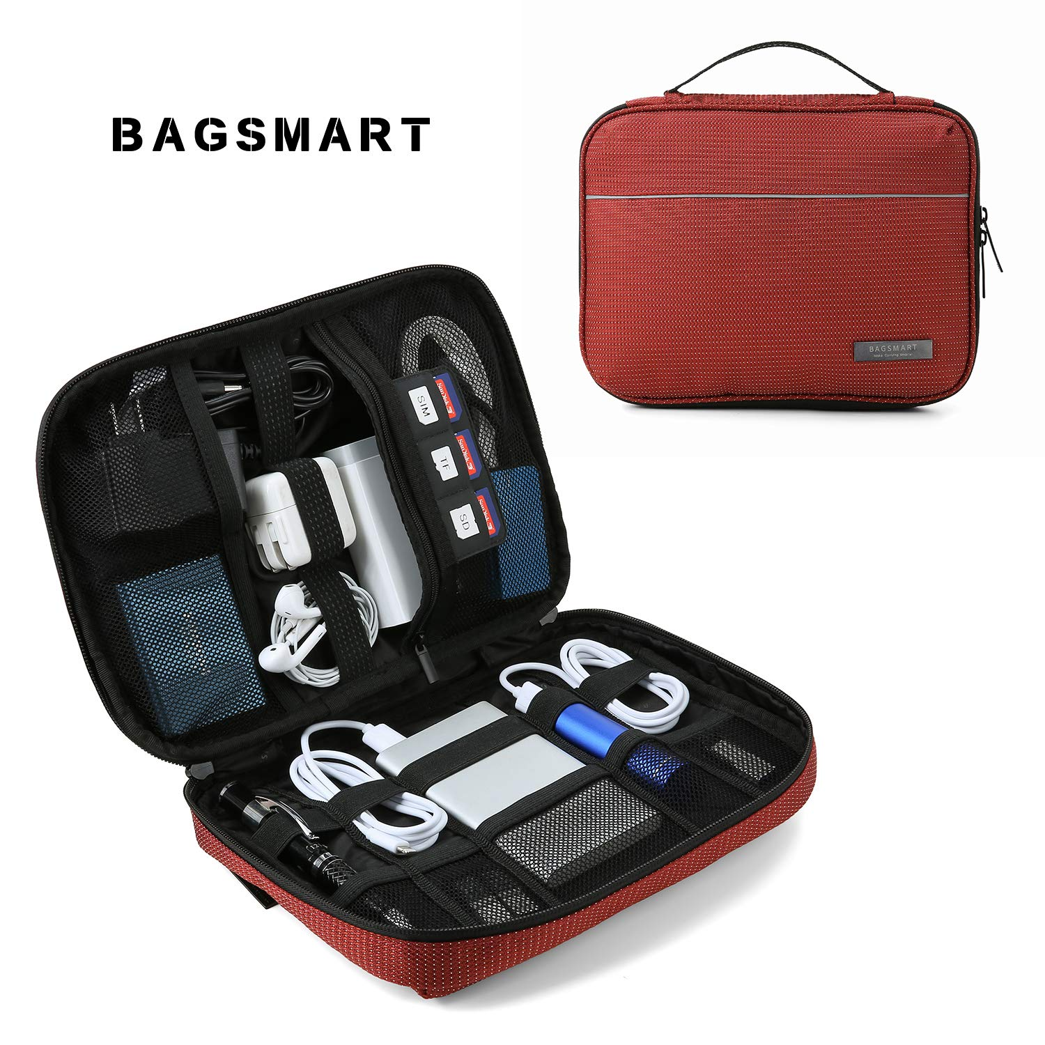BAGSMART Travel Cable Organizer Cases Electronics Accessories Storage Bag for Hard Drives, Cables, Charger, Red