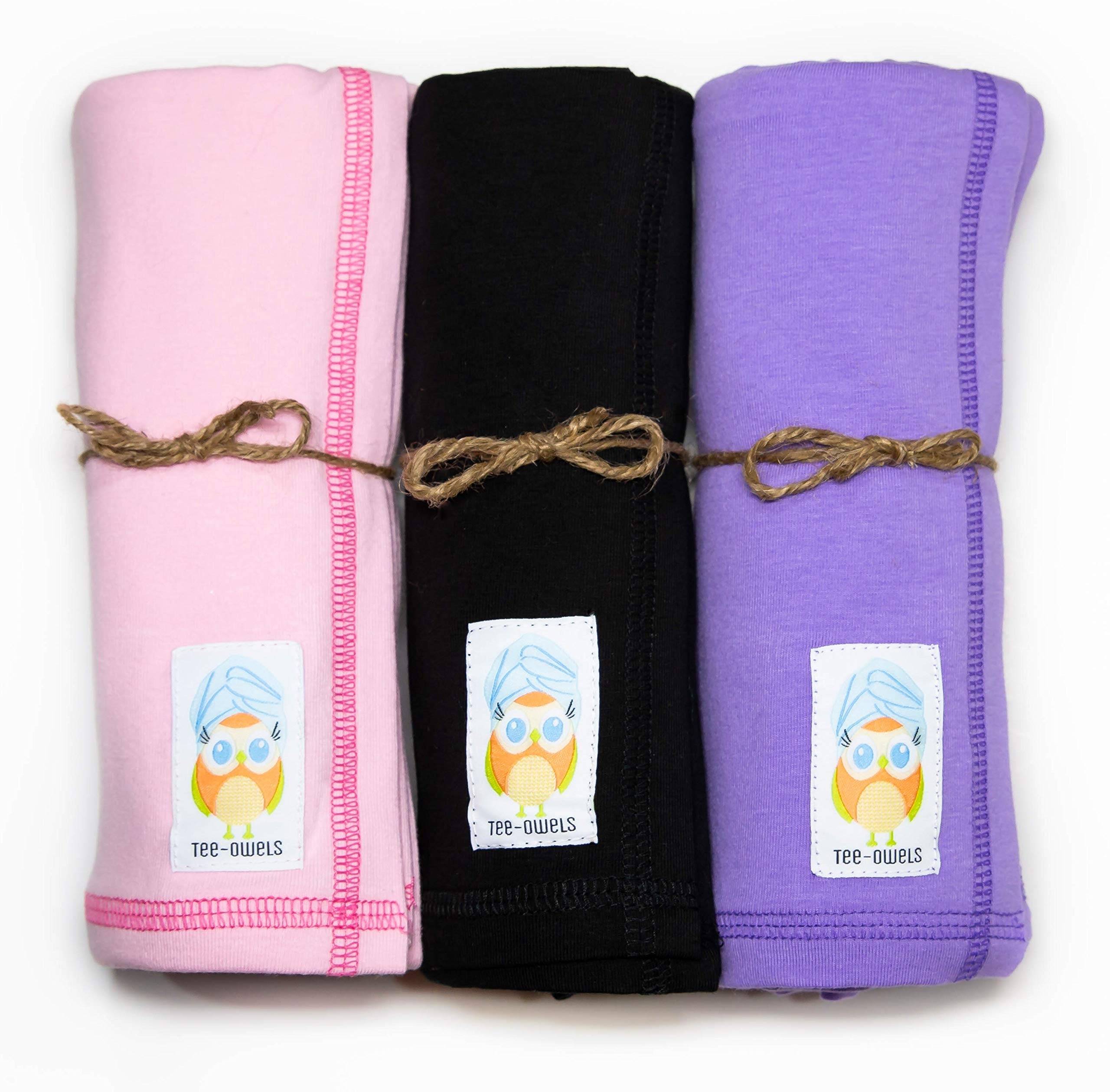 Tee-Owels Sassy+ Combo (Shoulder to Longer) - 3 Pack of Ideal Cotton T-Shirt Hair Towels for Natural and Curly Hair Care - Promotes Healthy Hair by Preventing Damage, Breakage, and Frizz