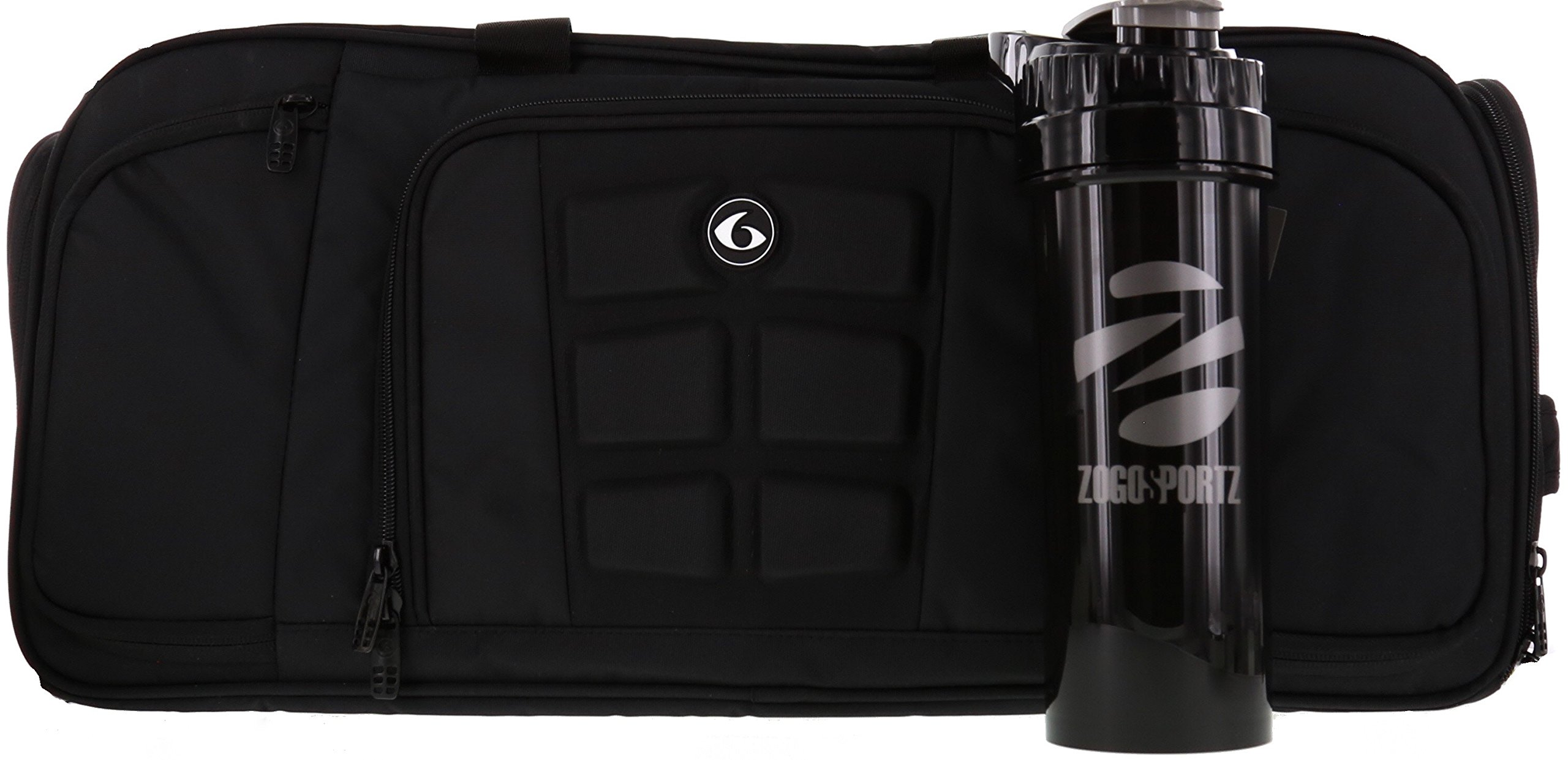 6 Pack Fitness Expert Beast Duffle 500 Stealth Black w/Removable Core w/ Bonus ZogoSportz Cyclone Shaker by 6 Pack Fitness