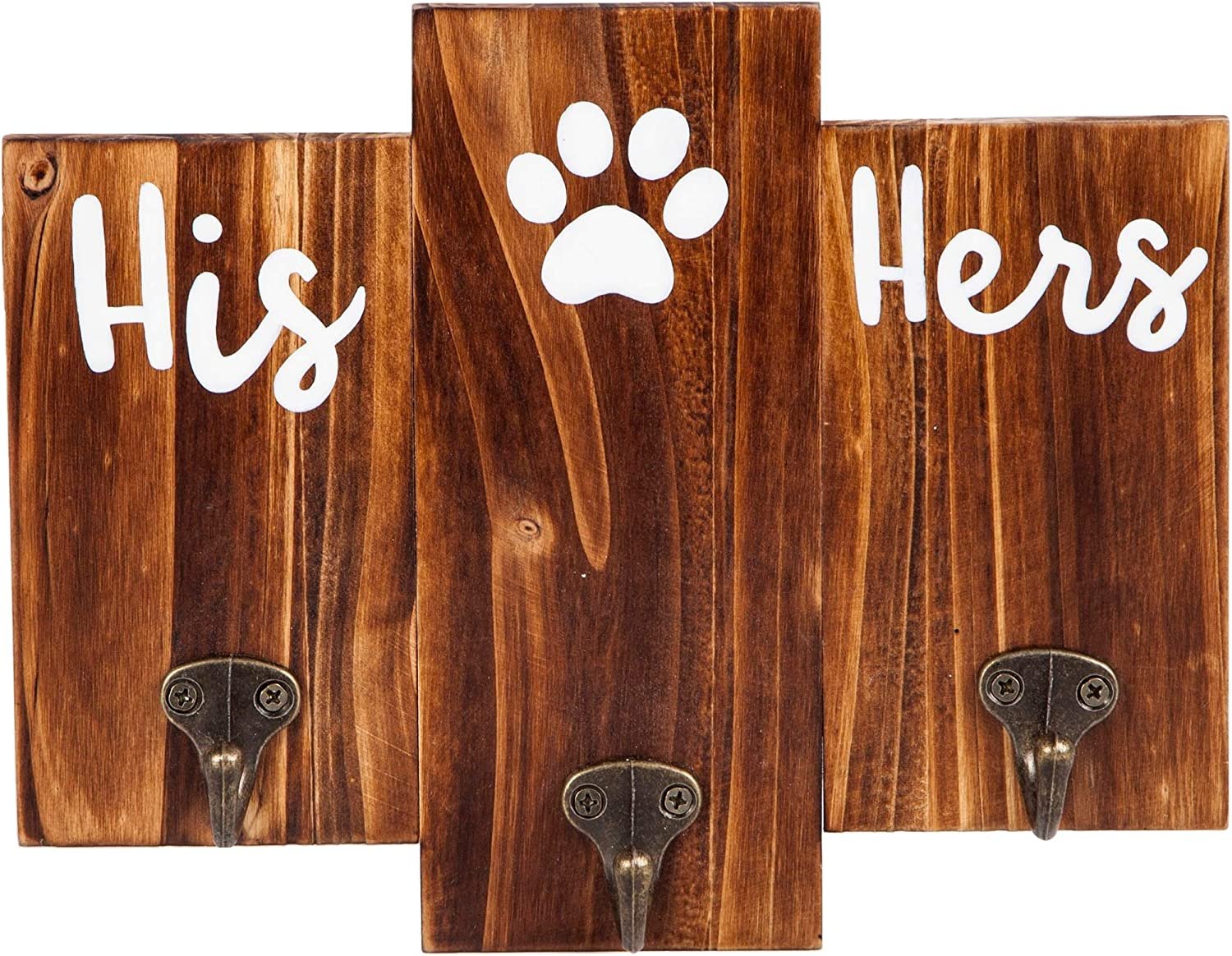 TBFM His Her Dog Hanger – Unique Key Holder and Dog Leash Hanger with 3 Hooks for Wall | Rustic Décor for Entryway | Cute Housewarming Gifts for Dog Owner & Lovers | 9.8 Inch Wide 7.9 Inch Tall