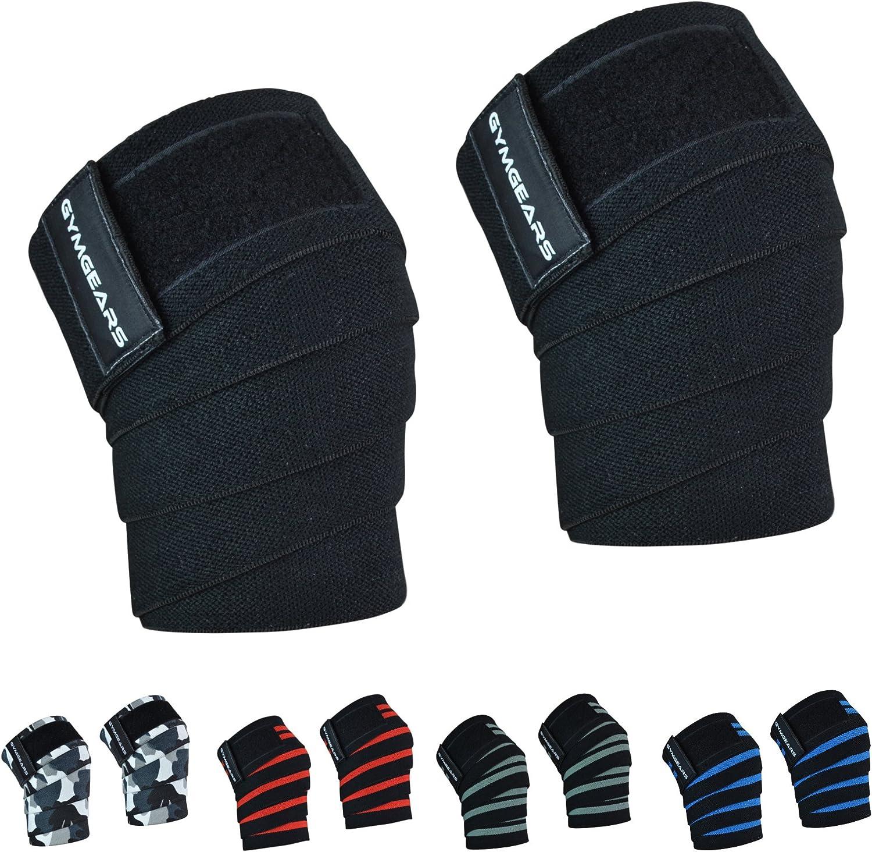 de 200/cm,/profesionales para deportes de fuerza Juego de 2 vendajes para rodillas con cierre de velcro culturismo levantamiento de pesas crossfit y fitness,/adecuados para mujeres y hombres