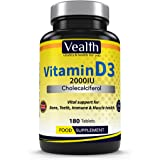 Vitamin D3 2000IU Cholecalciferol 180 Tablets. High Potency and Highly Bioactive Form of Vitamin D Supplement. Suitable for Vegetarians, Non GMO and Gluten, Wheat, Dairy, Soya and Gelatin Free. 6 Months Essential Supply. Made in the UK. By VEALTH Limited.