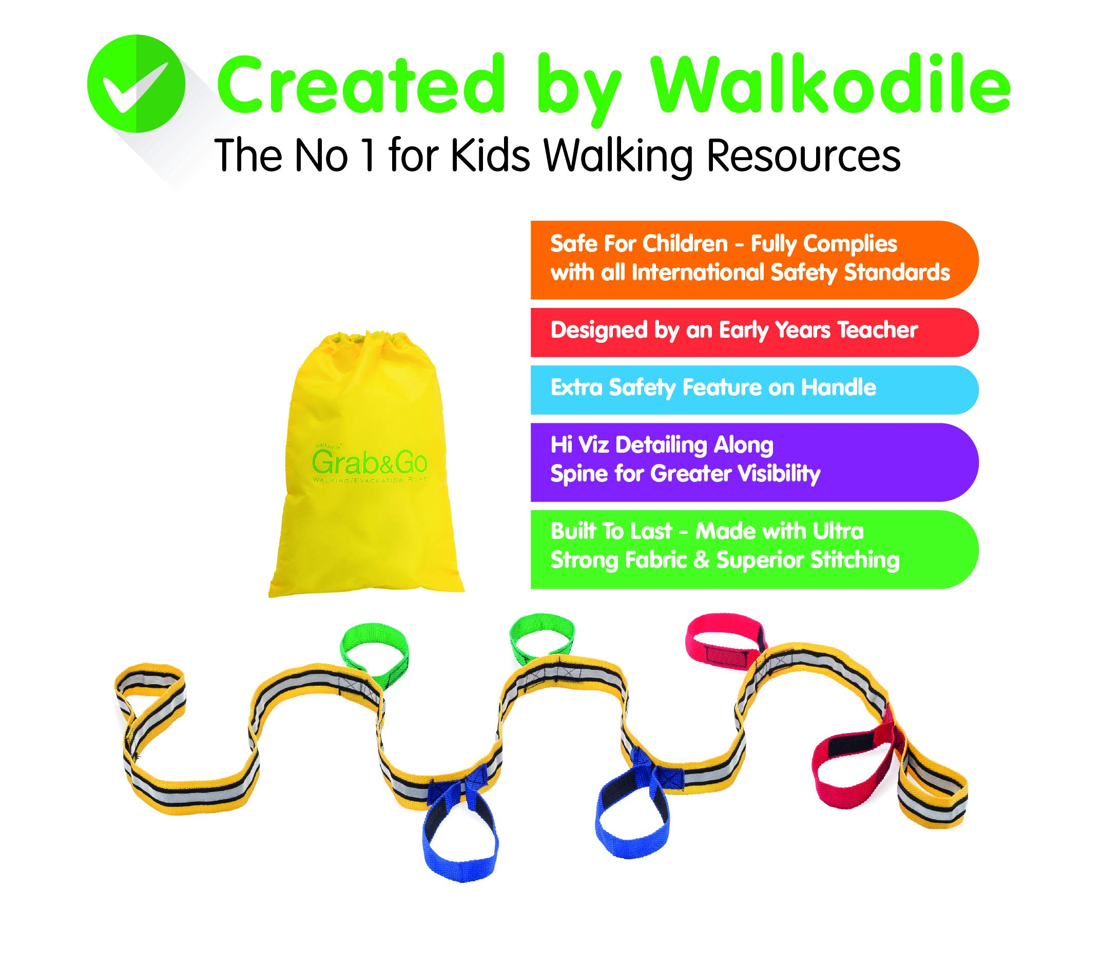 Daycare Walking Rope (6 Child). Other Sizes Available. Teacher Designed. Premium Quality. Extra Safety Feature on Handles. Hi Viz Detailing.