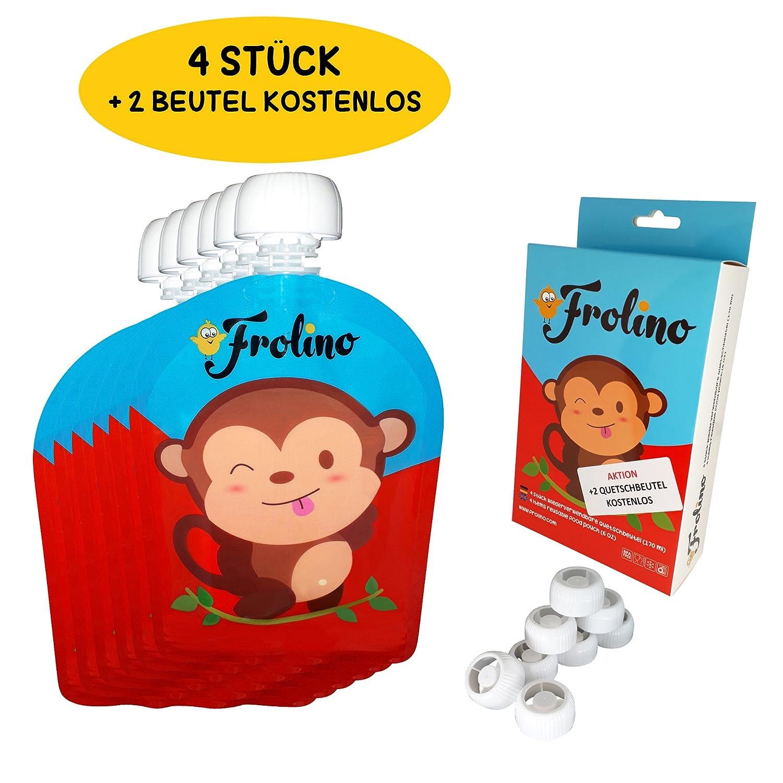 Frolino Quetschies | 6 Stück wiederverwendbare Quetschbeutel | BPA & PVC frei | Kostenlose Rezepte | Ideal für Früchte-Brei und Smoothies | Doppel-Zipper | Leicht zu säubern | keine Ecken HXW Packing 10001