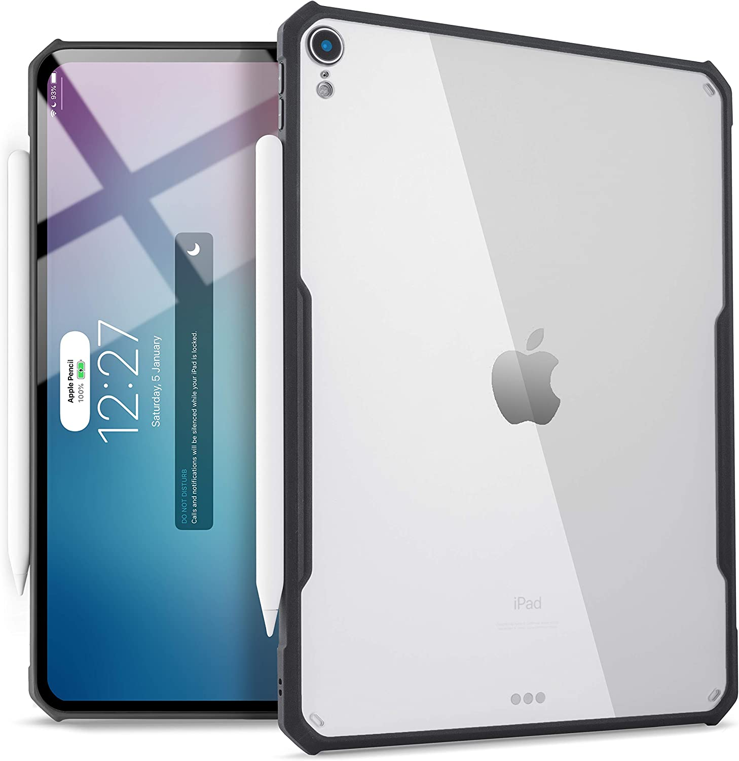 iPad Pro 12.9-inch (2018 Release, 3rd Generation) Ultra-Slim Clear Case, Supports Apple Pencil Wireless Charging [Absorbs Shock] Flexible TPU, Lightweight by (Black)