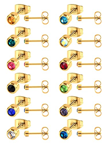 12 Pairs Stainless Steel Earring Stud Cubic Zirconia Earring Piercing for Men and Women, 12 Colors