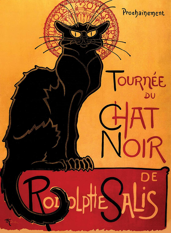 "PalaceLearning Tournée du Chat Noir by Theophile Alexandre Steinlen - 1896 - The Black Cat - Vintage Poster Print (Laminated, 18"" x 24"")"