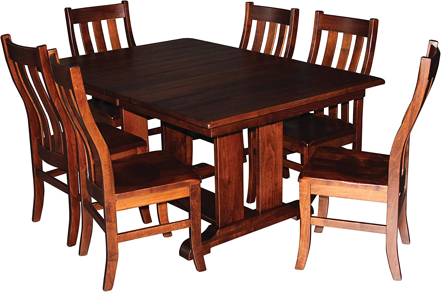 """Aspen Tree Trestle Dining Room Kitchen Table Chair Set 8 Side Chairs 60"""" x 42"""" Expandable with 2-12"""" Leaves Solid Wood Custom Amish Made"""