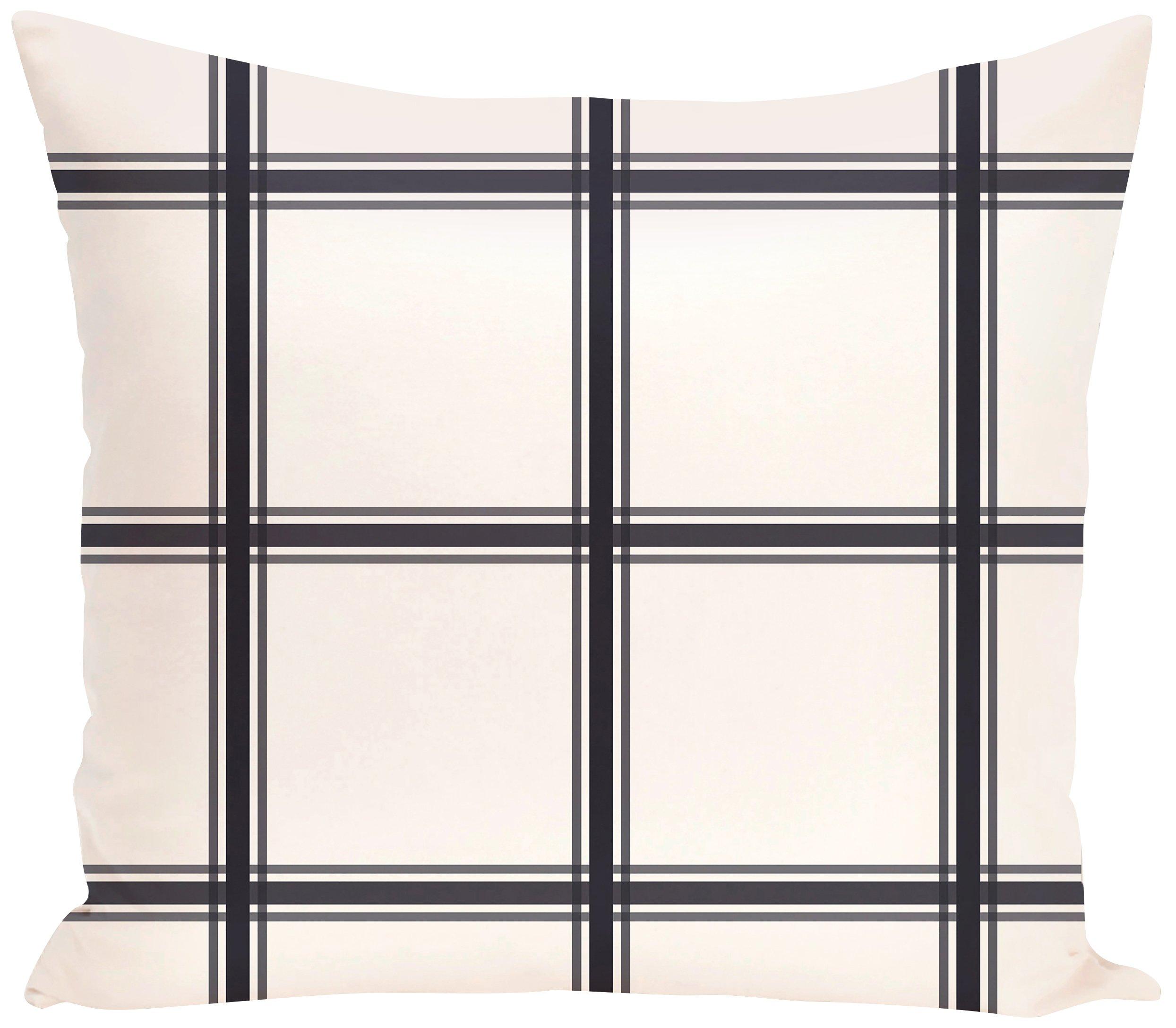 E by design PGN127BL14-26 PGN127BL14-26 Windowpane Plaid Geometric Print Pillow, Bewitching,Navy Blue