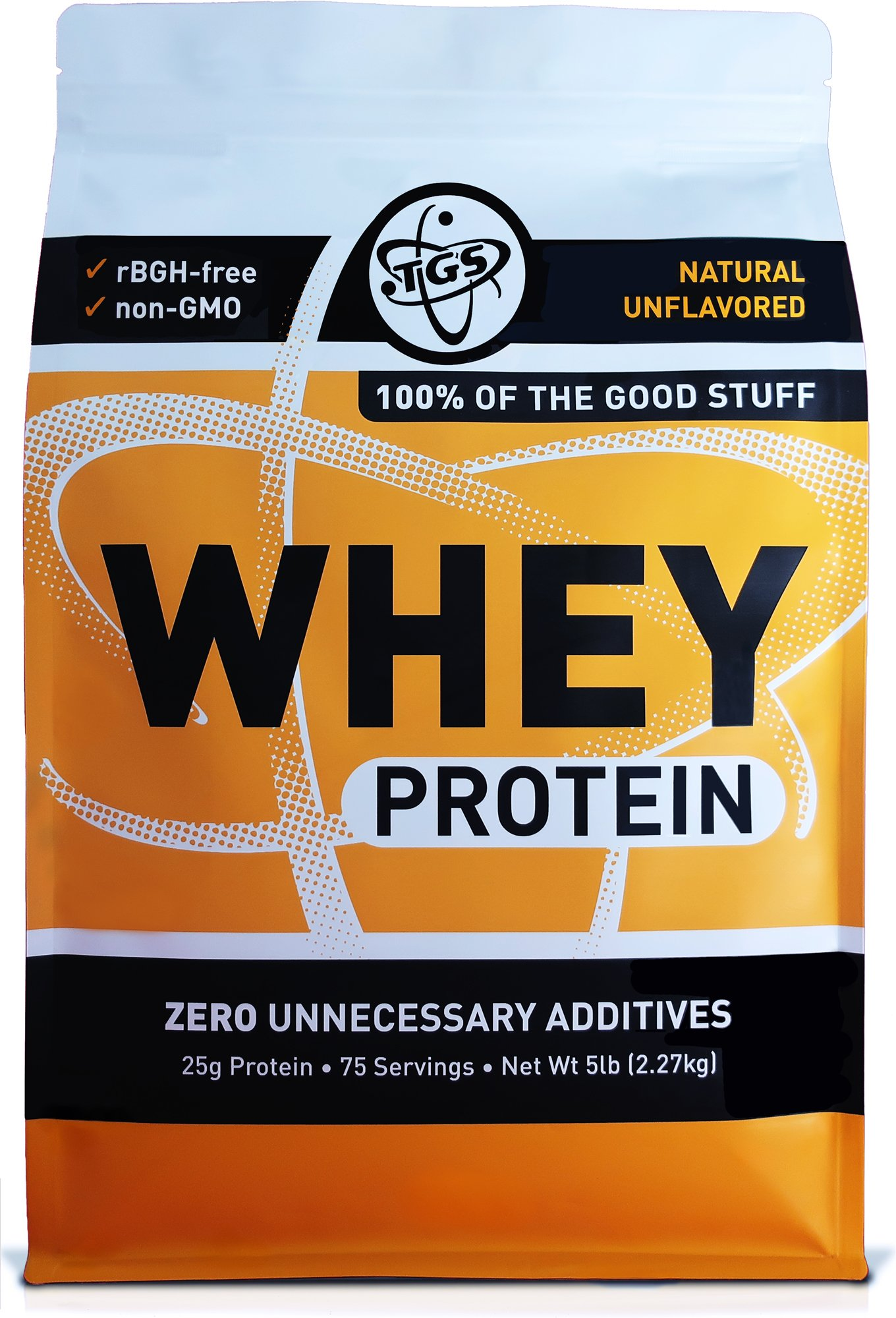 TGS All Natural 100% Whey Protein Powder 5lb - Unflavored, Undenatured, Unsweetened - Low Carb, Soy Free, GMO Free by TGS Nutrition