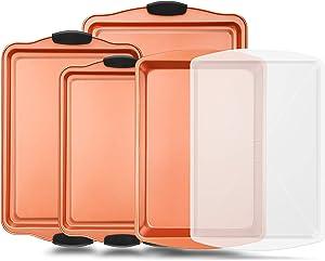 5 Piece Baking Pan Set - PFOA, PFOS, PTFE Free Flexible Nonstick Carbon Steel Bakeware Set - Home Kitchen Bake Pan Cookie Sheet Stackable Baking Tray Set w/ Red Silicone Handles - NutriChef NC5PCS