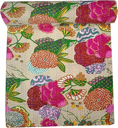 Flower Cotton Bedspread Kantha Quilt embroidery Bedsheets Bedcover Blanket Throw Baby Quilt Blanket Queen Size King Size  692