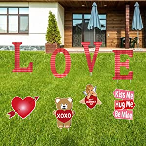 Partyprops 8 PCS Valentines Yard Signs with Stakes for Valentine's Day Lawn Yard Outdoor Decorations - Valentine's Day Decorations Outdoor - Love Letter Yard Sign