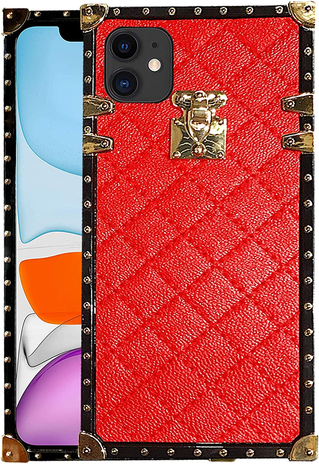 iPhone11 Cover Square Compatible with iPhone 11 case Luxury Trunk Box Durable Glitter Girly Cases for 11iPhone iphone2019 1phone i Phone IP iPhones Bumper fundas Coque 6.1 inch (Red)