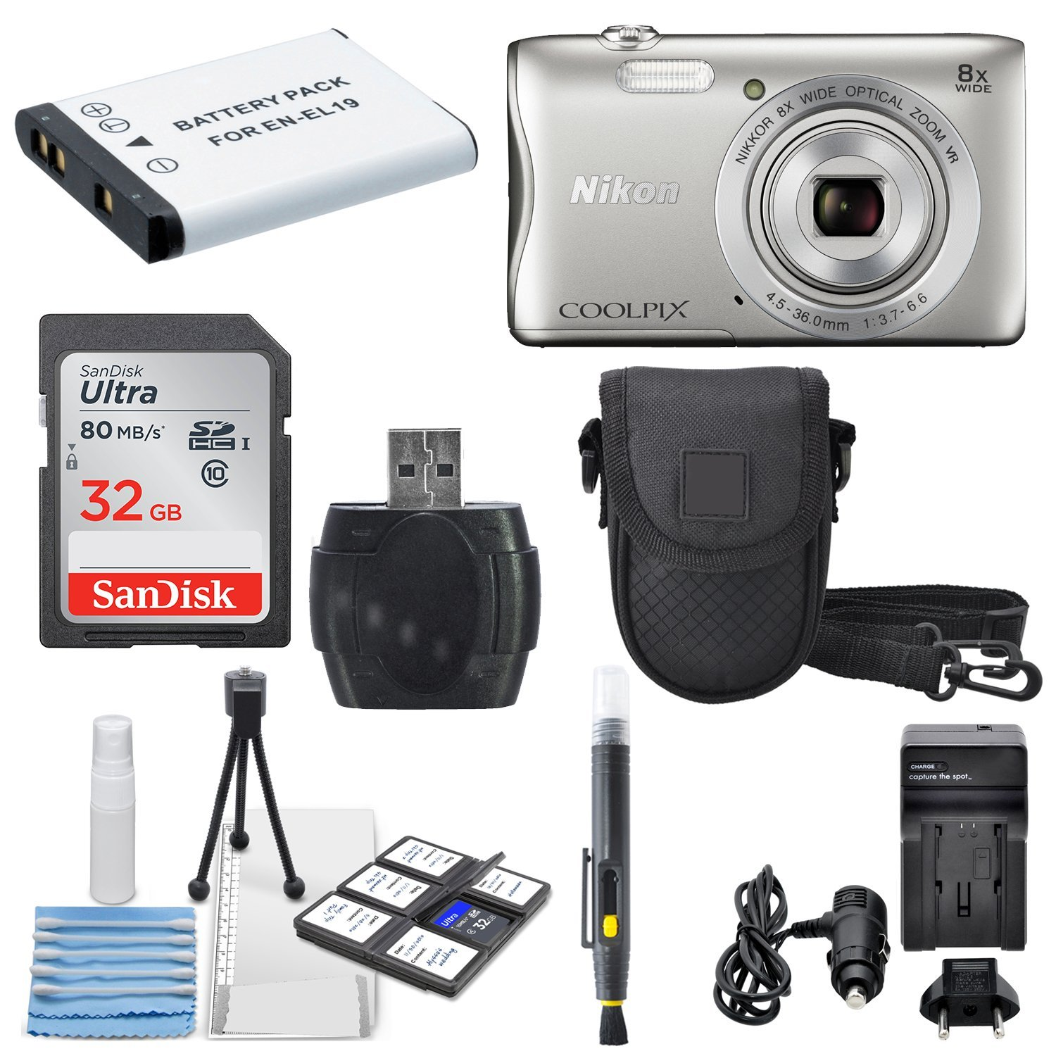 Nikon COOLPIX S3700 Wi- Fi enabled Digital Camera with 8x Optical Zoom (Silver) +32 GB Memory Card + AC/DC Turbo Travel Charger + Extra Battery Along With a Deluxe Accessory Bundle