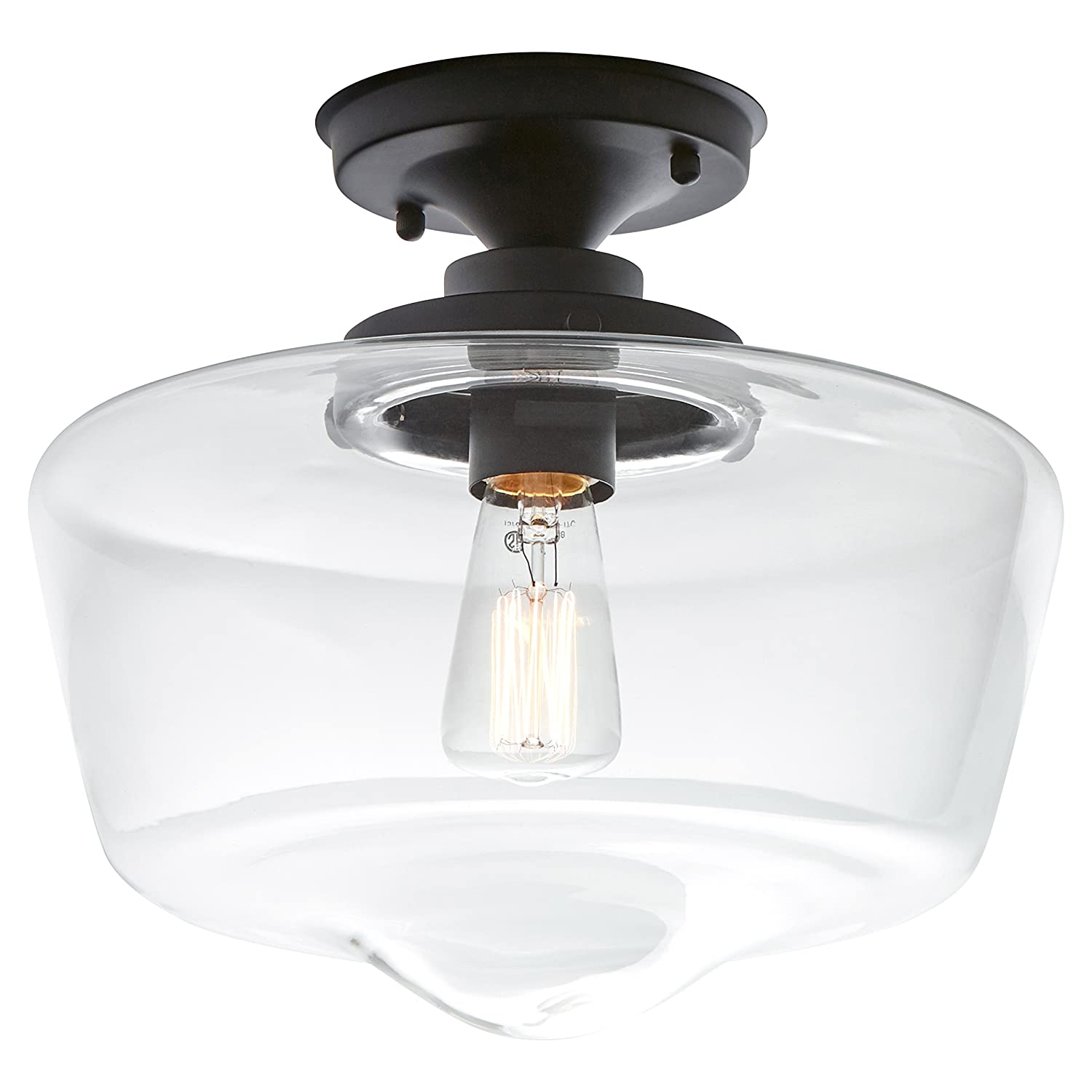 Brushed Nickel with Glass Shade 10.5H Canarm IFM725A11BN 10.5H With Bulb Stone /& Beam Schoolhouse Semi-Flush Mount Ceiling Light