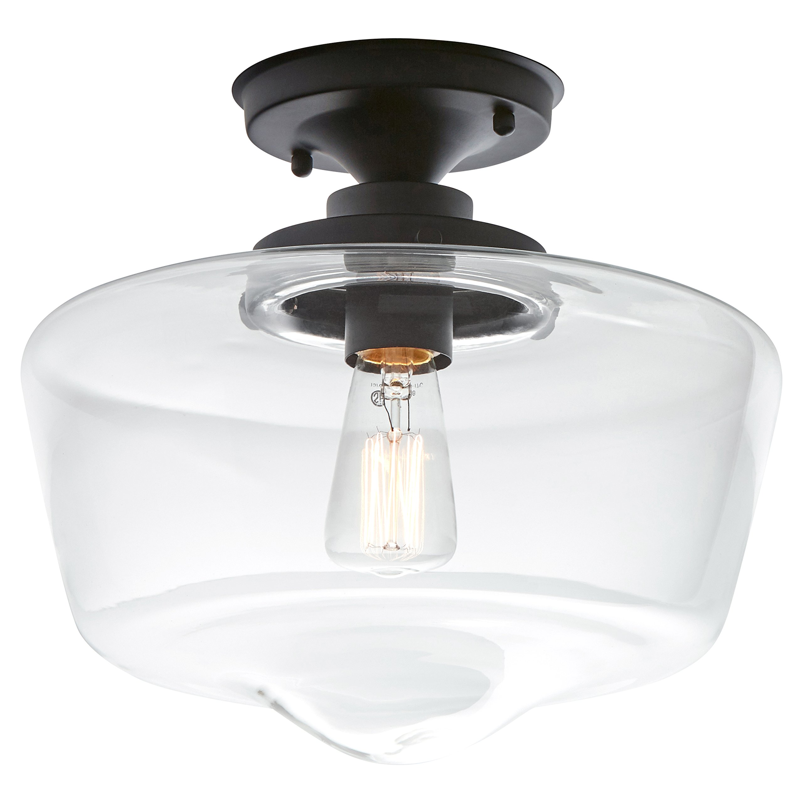 Stone & Beam Schoolhouse Semi-Flush Mount Ceiling Light, 10.5''H, With Bulb, Matte Black with Glass Shade