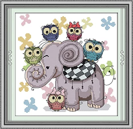 Embroidery Needlepoint Kits Elephant and Owls Cross Stitch Stamped Kits Pre-Printed Cross-Stitching Starter Patterns for Beginner Kids or Adults