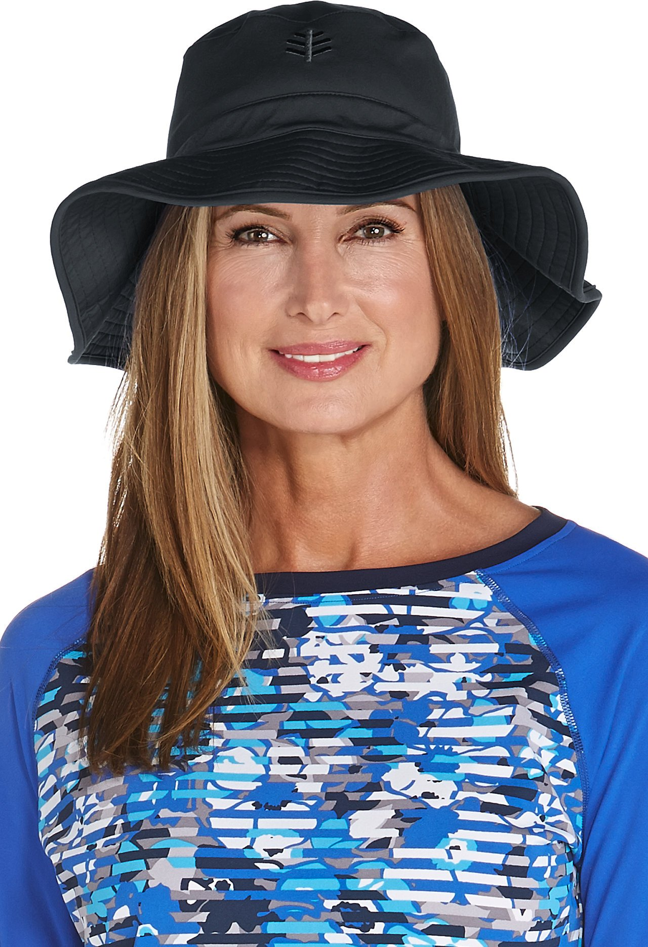 Coolibar UPF 50+ Women's Chlorine Resistant Bucket Hat - Sun Protective (Large/X-Large- Black)