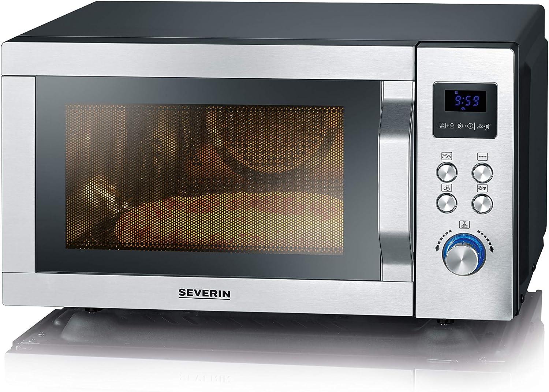 SEVERIN Microondas 4 en 1 con doble grill, mini horno con función Pizza-Express, microondas con grill y función de aire caliente hasta 230 °C, acero inoxidable/negro mate, MW 7759