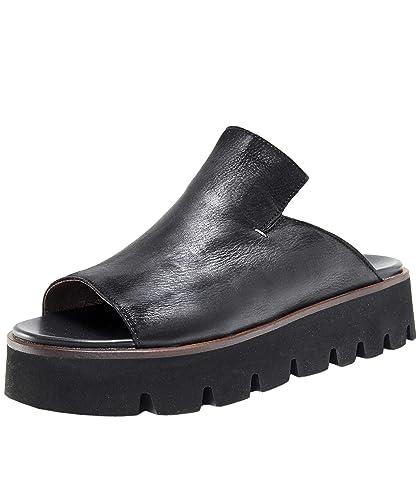 7fca598c333 Lofina Women's Leather Wedge Slider Sandals Black: Amazon.co.uk ...