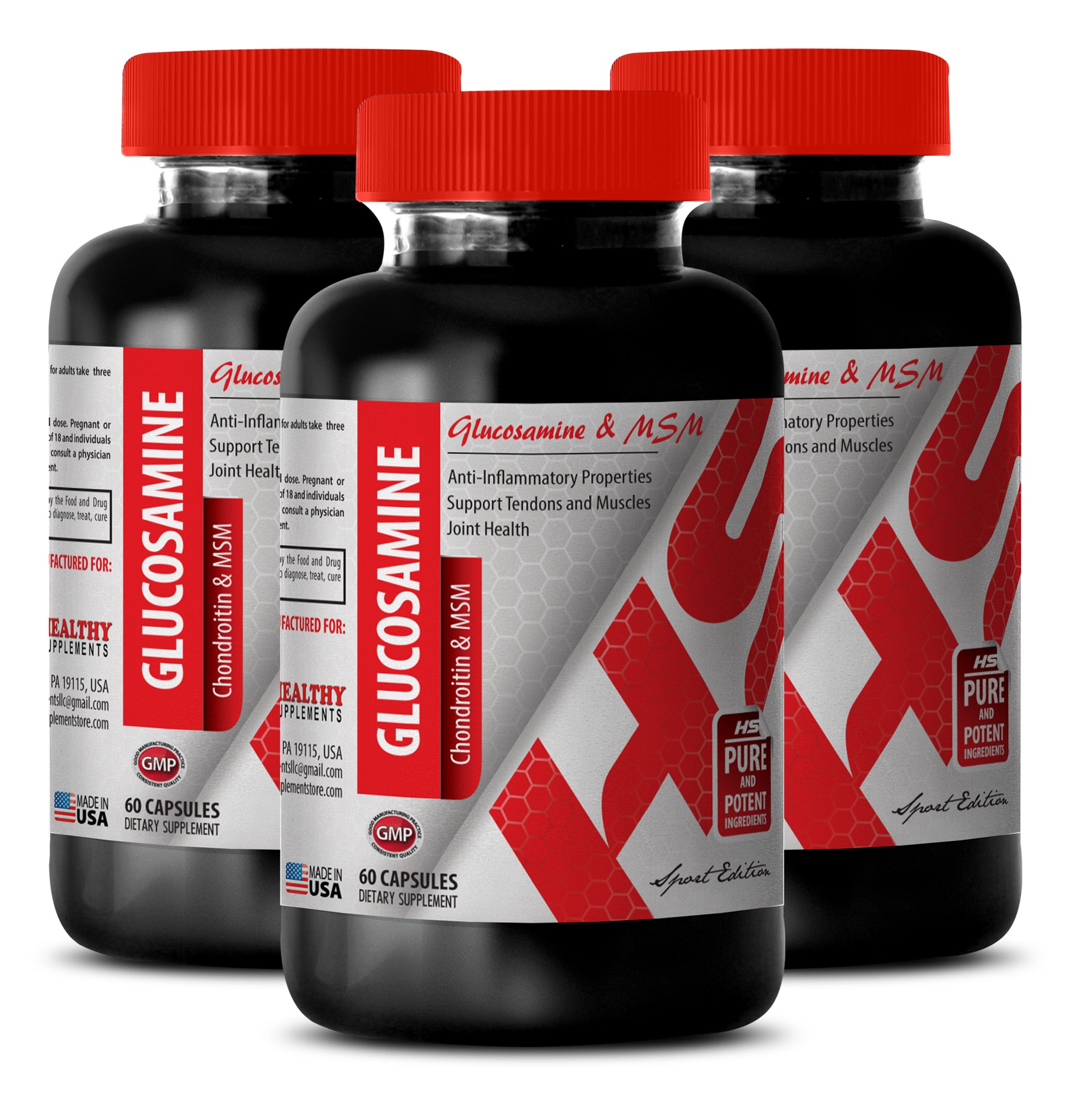 Glucosamine capsules - GLUCOSAMINE AND MSM 3230 MG - support bones and joints (3 Bottles)