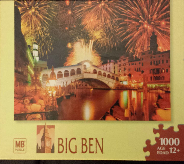 Venice Big Ben 1000 Piece Puzzle Fireworks over the Rialto Bridge Italy Hasbro