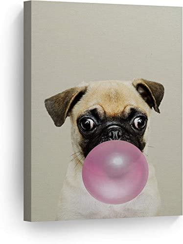 Smile Art Design Puppy Pug Dog Animal Bubble Gum Art Pink Canvas Print Photo Wall Art Home Decoration Pop Art Kids Room Decor Nursery Ready to Hang Made