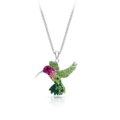 e0c5b37fc Colorful Flying Hummingbird Crystal Pendant Necklace Never Rust 925  Sterling Silver for Women, Girls &