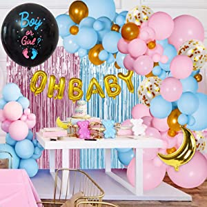 Golray Gender Reveal Decorations Party Supplies with 114Pcs Pink Blue Gold Balloons Garland Arch, OH Baby & 36