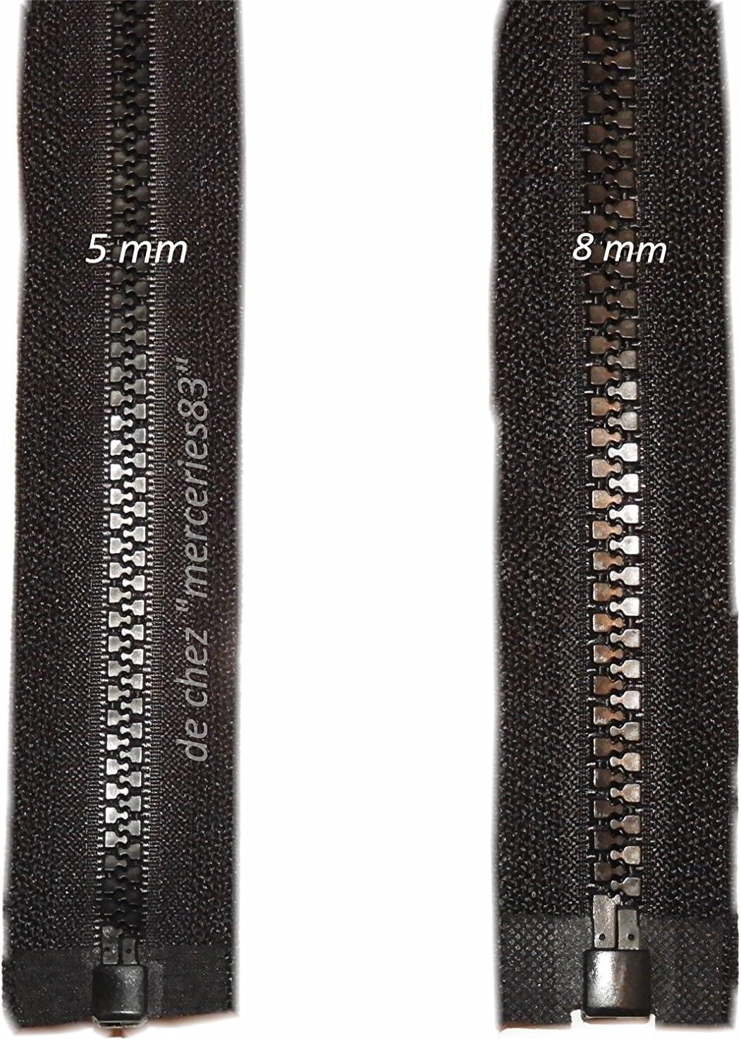 25 cm 410 Blanc cass/é Fermeture Eclair s/éparable plastique moul/ée 6 mm Z54