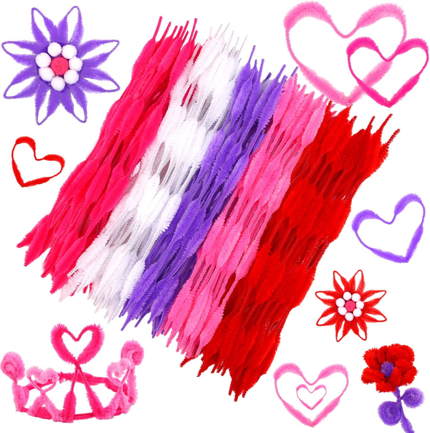 Metallic Highlight Fluorescent Pink Chenille Pipe Cleaners