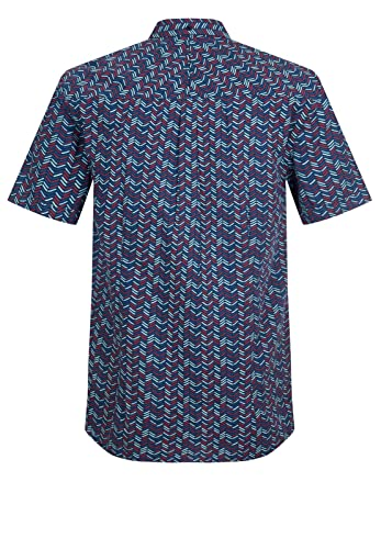 Merc of London Daltrey, S/S Chevron SHRT Camisa, Azul (Navy), 42 ...