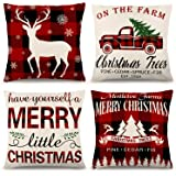 ZJHAI Christmas Pillow Covers 18×18 Inch Set of 4 Farmhouse Black and Red Buffalo Plaid Pillow Covers Holiday Rustic…