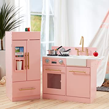 Teamson Kids - Modern Wooden Kids Play Kitchen, Toddler Pretend Play Set  with Accessories, Pink