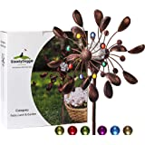SteadyDoggie Solar Wind Spinner Jewel Cup 75in Tall (1.9m)   Multi-Colour LED Light Display from Solar Powered Glass Ball   Dual Direction Kinetic Wind Spinner for Patio Lawn & Garden