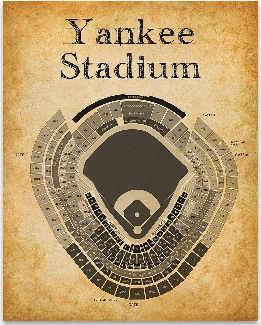Yankee Stadium Baseball Seating Chart - 11x14 Unframed Art Print - Great  Sports Bar Decor and Gift Under $15 for Baseball Fans