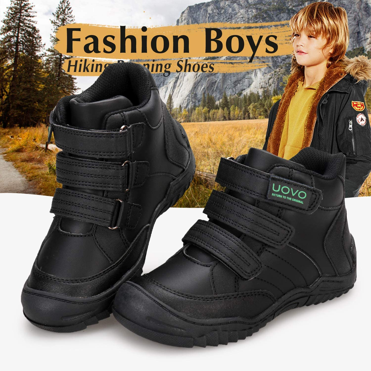 Little Boys//Big Boys UOVO Boys Snow Boots Boys Boots Winter Boots for Kids Waterproof Winter Snow Boots for Boys Warm Slip Resistant Outdoor