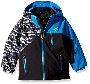 5b4739426 Spyder Boys' Mini Ambush Ski Jacket, Black Camo Black/French Blue, Size