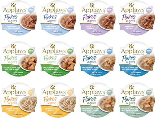 Applaws Flakes in Gravy Cat Food in Pots 6 Flavor Variety Bundle 2.47 Ounces Each, 12 Pots Total