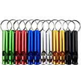 12PCS Assorted Colors Aluminum Emergency Survival Whistles with Key Chain