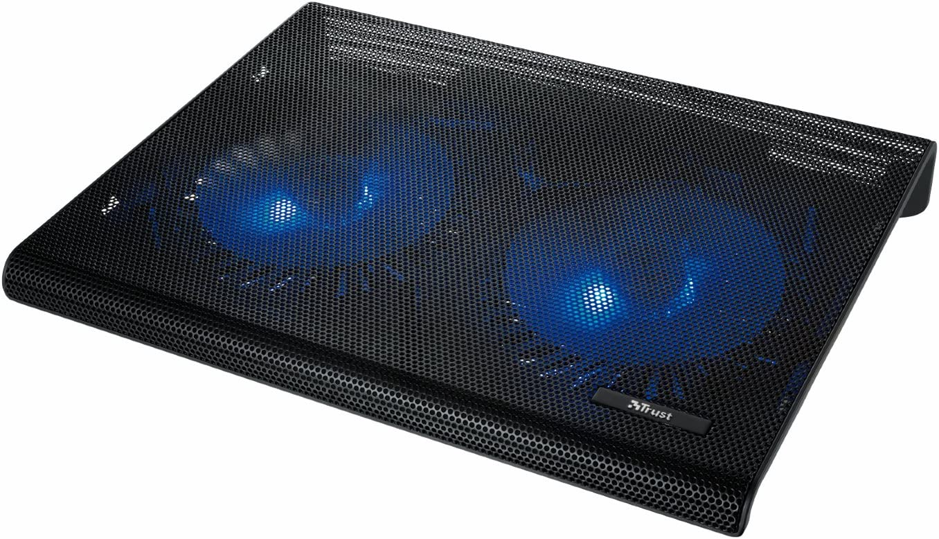 Trust Azul - Base de refrigeración para portátiles (Dos Ventiladores), Negro