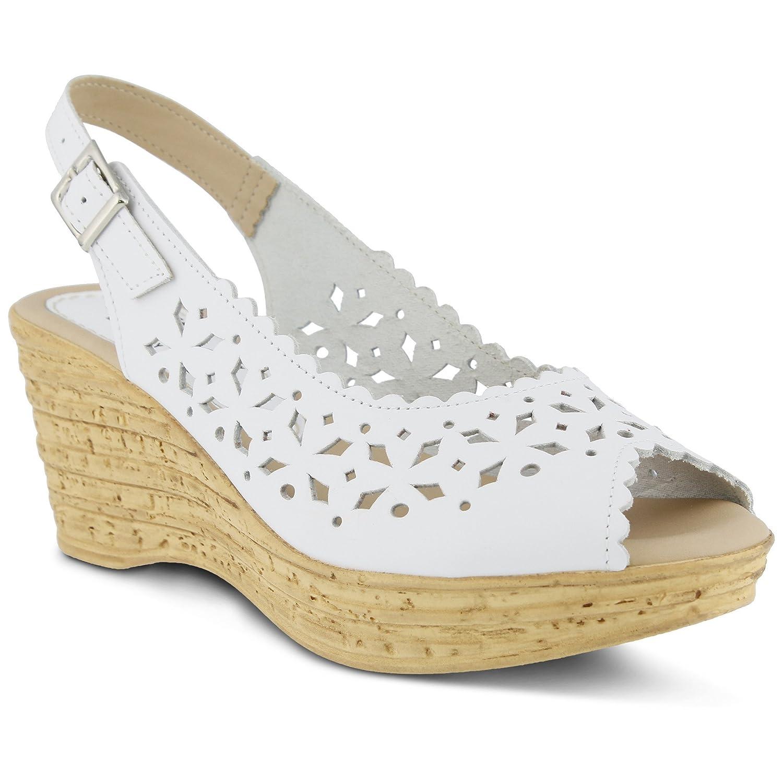 Women's Spring Step Chaya   Color White   Star-Shaped Laser-Cut Leather Peep-Toe Sandal B0788Y5FVX 39 M EU
