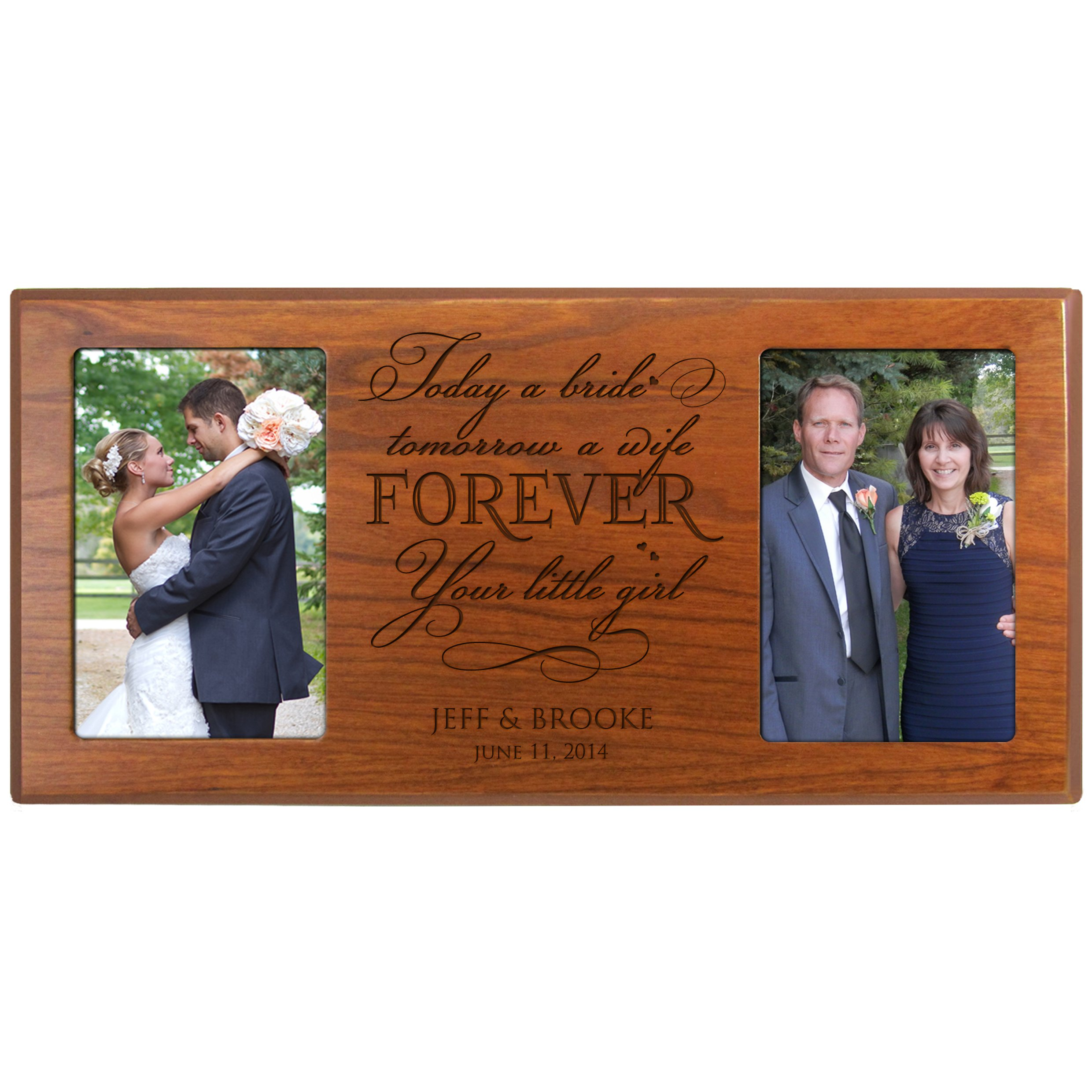 Personalized Parent Wedding Gifts,wedding Picture Frame Wedding Gift for Parents for Bride and Groom Mom and Dad Thank-you Gift Today a Bride Tomorrow a Wife Forever Your Little Girl(Cherry)