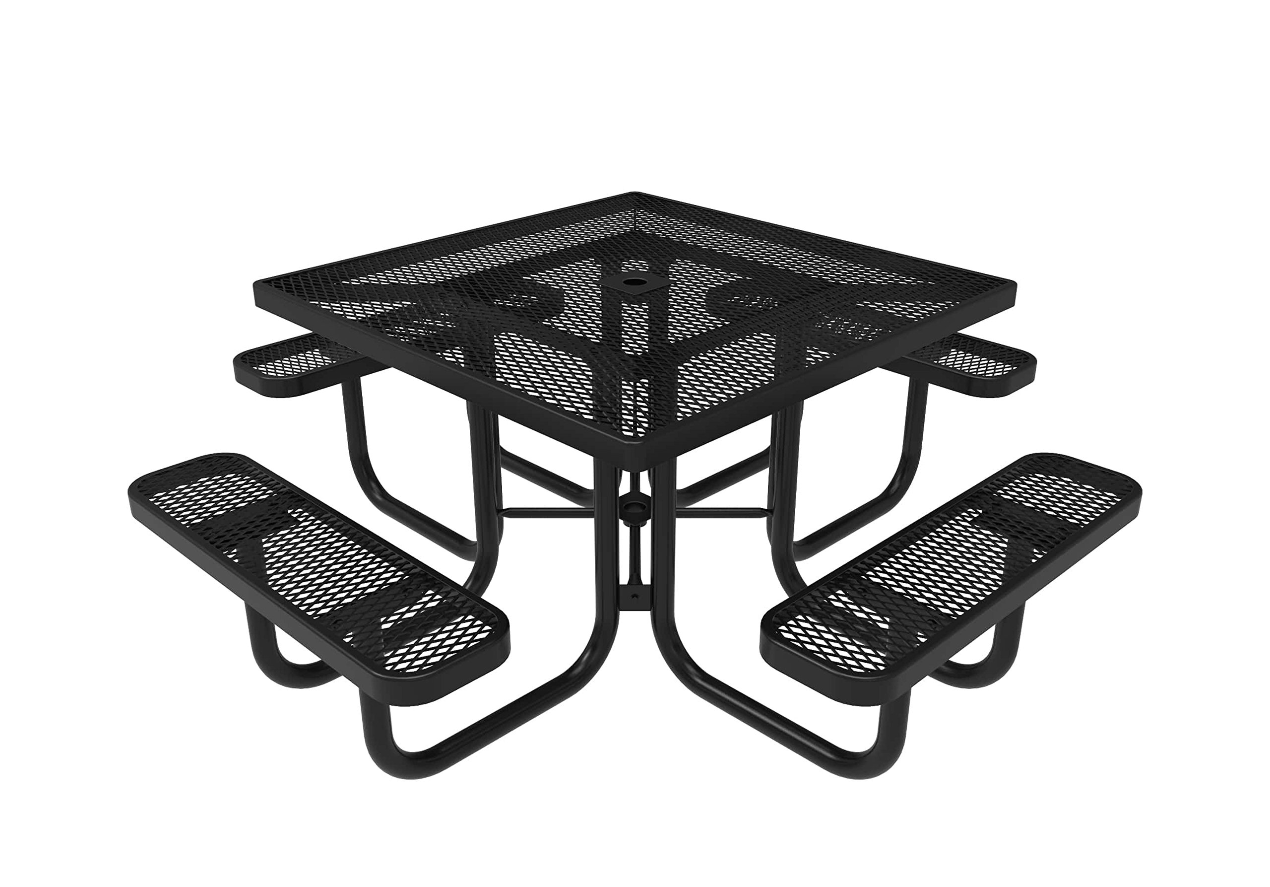 Coated Outdoor Furniture TSQ-BLK Top Square Portable Picnic Table, 46-inch, Black