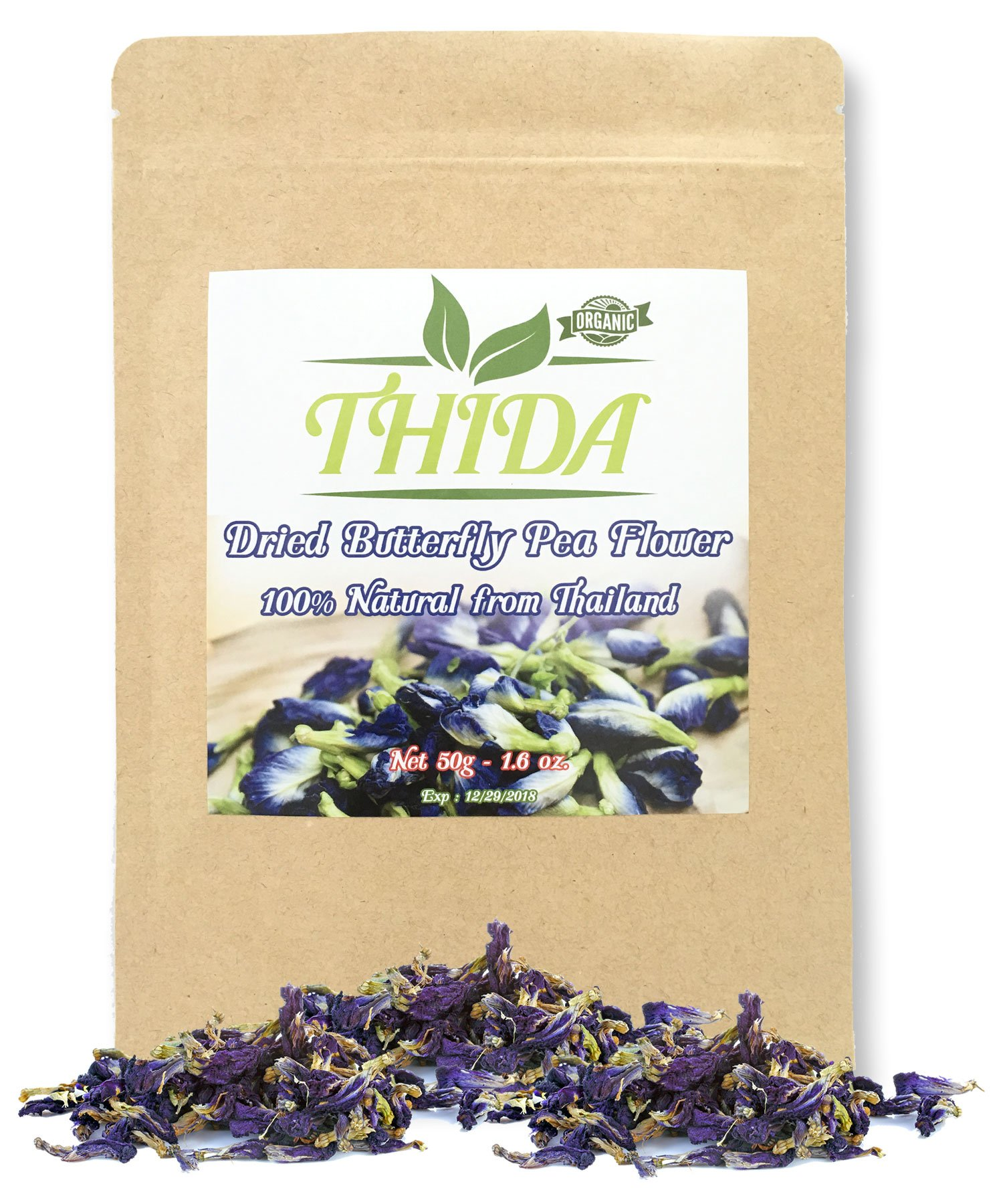 Butterfly Pea Flower Tea for Enhancing Hot & Cold Teas - 100% Organic/Pesticide Free Natural Dried Thai Herbals, Carefully Selected Pigeonwings Flowers Blue Tea From Northern Thailand, 1.60Oz (50g)
