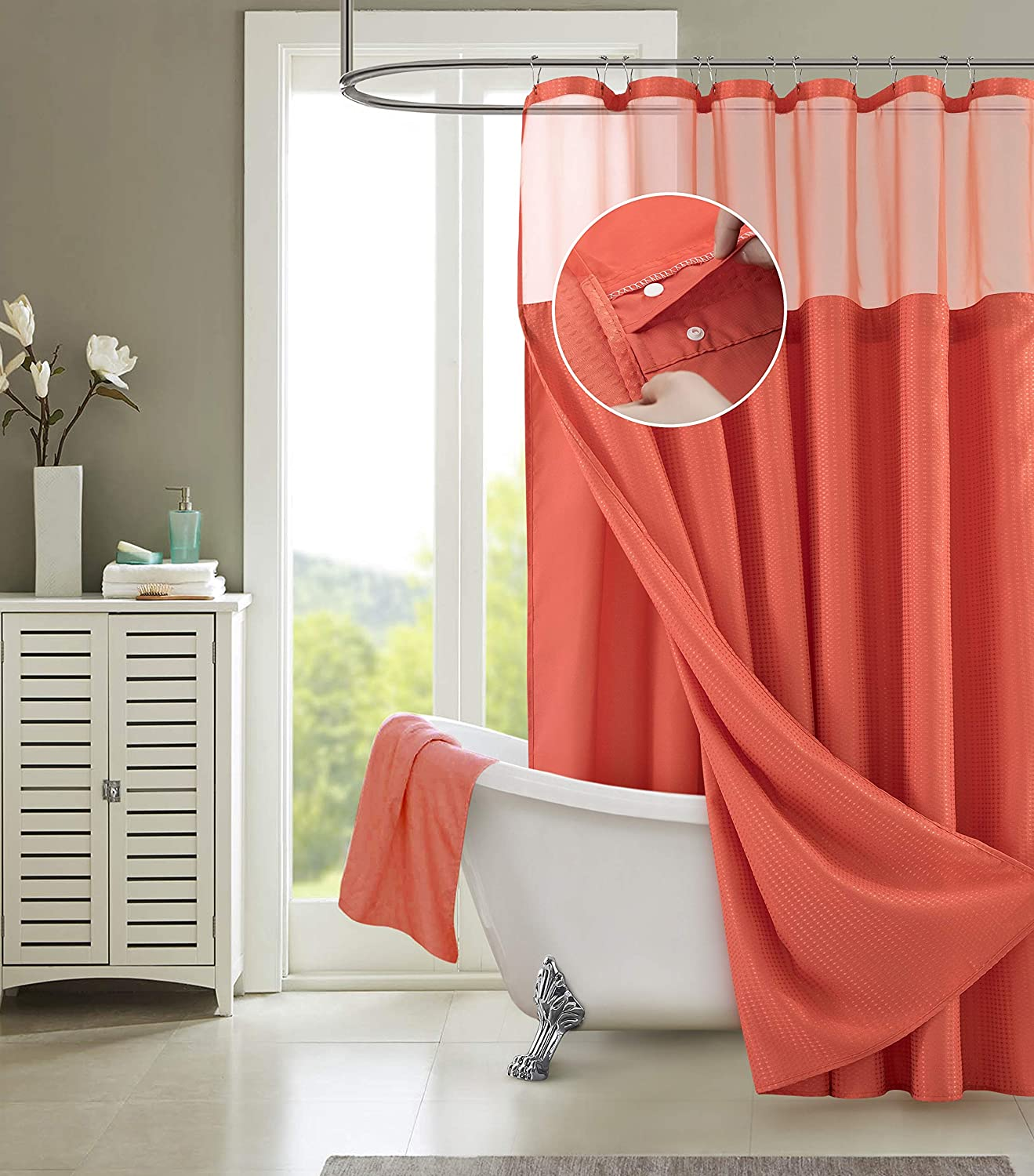 Dainty Home Waffle Complete Shower Curtain, Coral