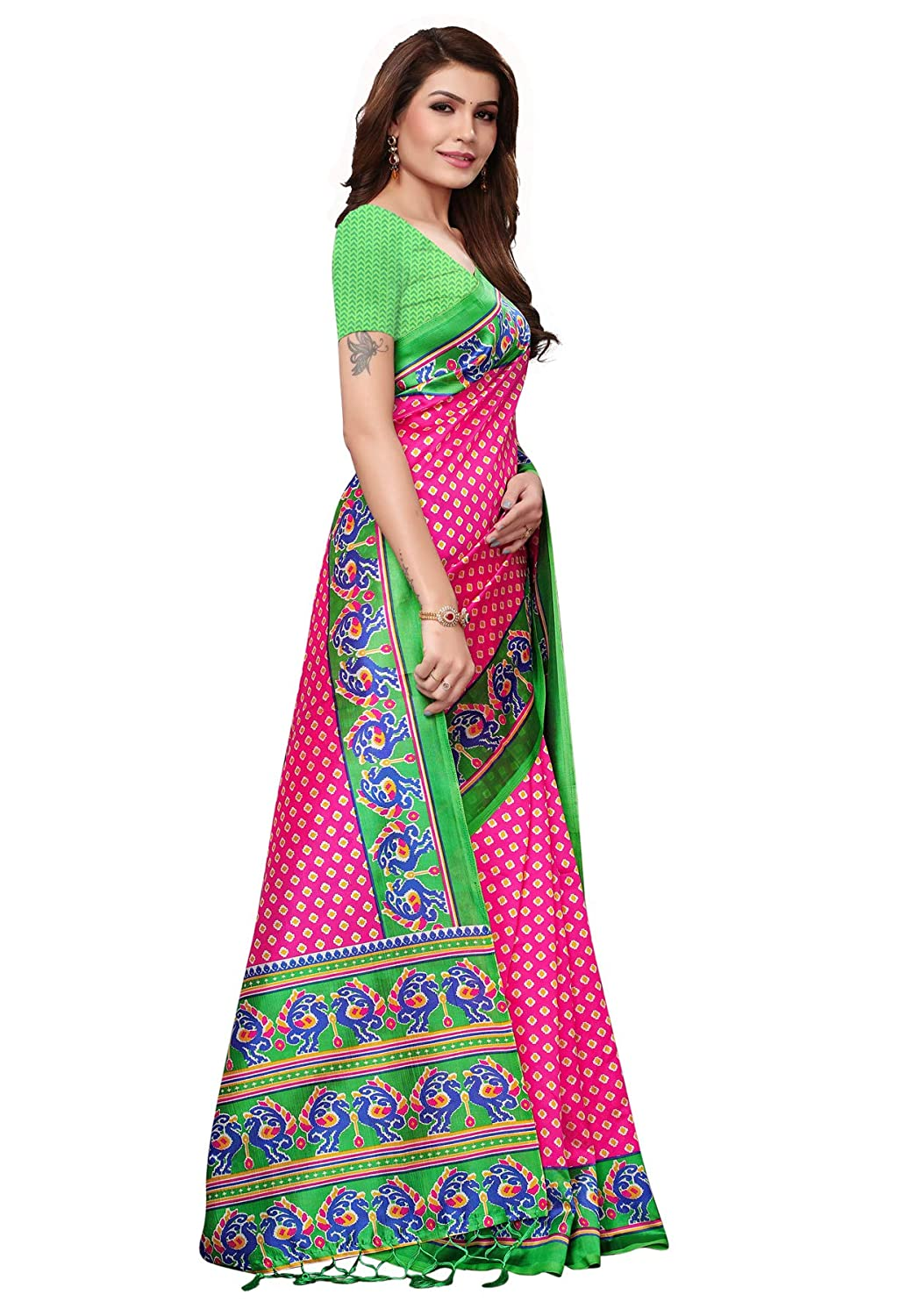 763deaa9b83 Salwar Studio Women s Pink   Green Mysore Silk Printed Saree with Blouse  Piece(OM-0041324 Pink Free Size)  Amazon.in  Clothing   Accessories