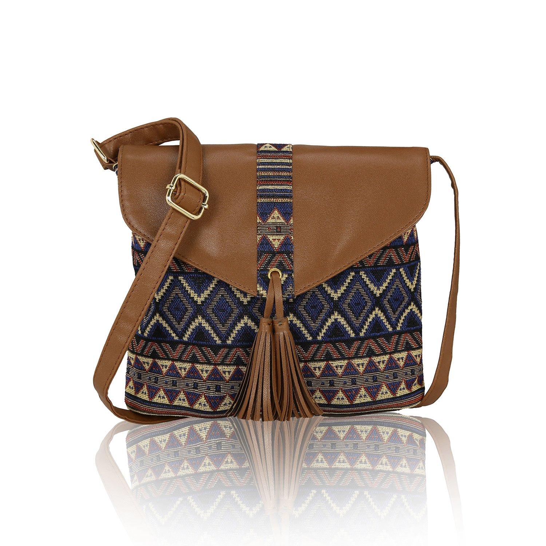Kleio Jacquard Stylish Sling Bag For Womengirls Multi C